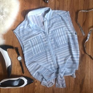 ZOA New York Blue Stripped Tie front blouse